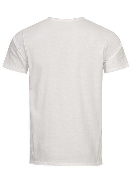 Sublevel Herren T-Shirt mit offenen Kanten weiss