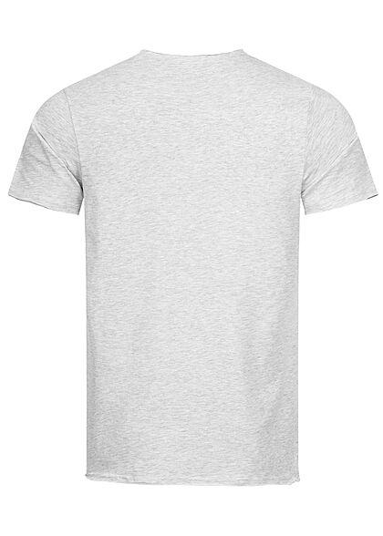 Sublevel Herren T-Shirt mit offenen Kanten hell grau melange
