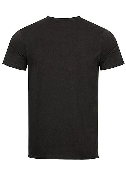 Sublevel Herren T-Shirt mit offenen Kanten schwarz