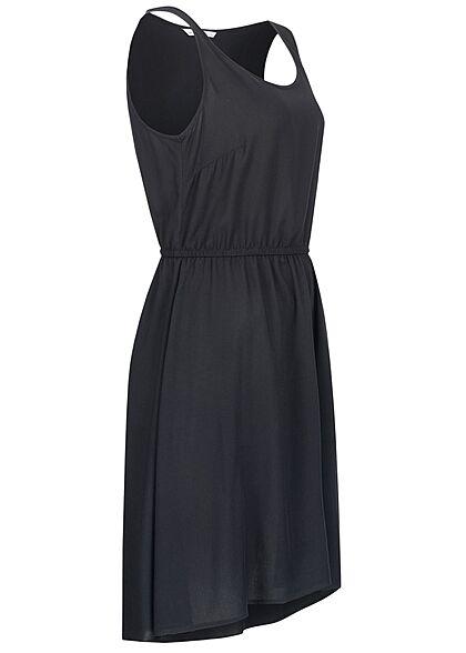 ONLY Damen Viskose Mini Kleid Taillengummibund schwarz