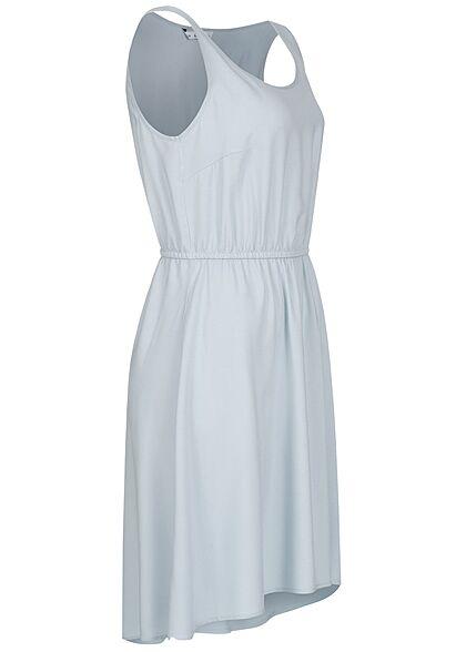 ONLY Damen Viskose Mini Kleid Taillengummibund fog blau