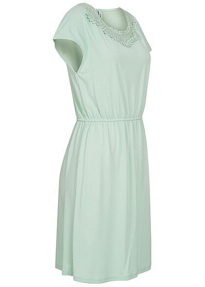 ONLY Damen Sommer Mix Kleid Taillengummibund und Häkelbesatz surf spray grün