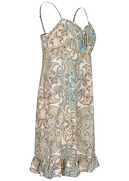 ONLY Damen Viskose Mini Träger Kleid Bindedetail vorne Pailey Print kalamata oliv