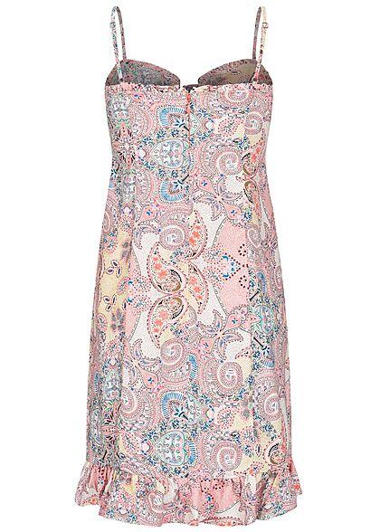 ONLY Damen Viskose Mini Träger Kleid Bindedetail vorne Pailey Print sugar coral rosa