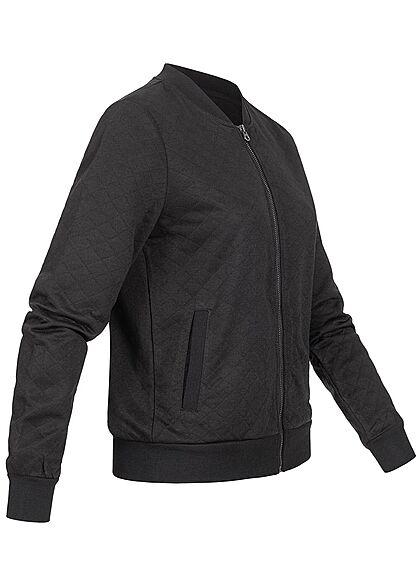 ONLY Damen NOOS Bomber Sweat Jacke Übergangsjacke Strukturstoff schwarz