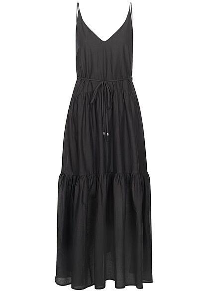 ONLY Damen NOOS V-Neck Maxi Stufen Kleid inkl. Bindegürtel schwarz