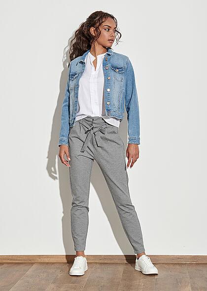 Vero Moda Damen NOOS Loose Fit Paperbag Hose inkl. Bindegürtel medium grau mel