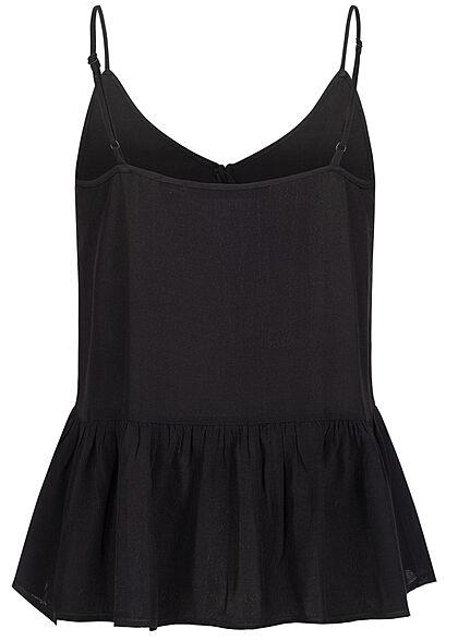 Vero Moda Damen V-Neck Top mit Spitzen- & Knopfdetails schwarz