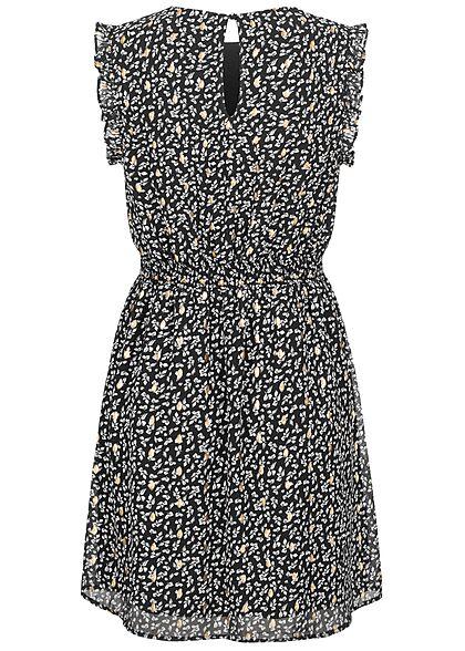 Vero Moda Damen Mini Kleid Rüschendetails All Over Print schwarz