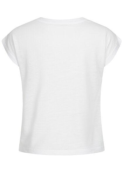 Hailys Kids Mädchen T-Shirt Paillettenapplikation mit Print Happy weiss gold