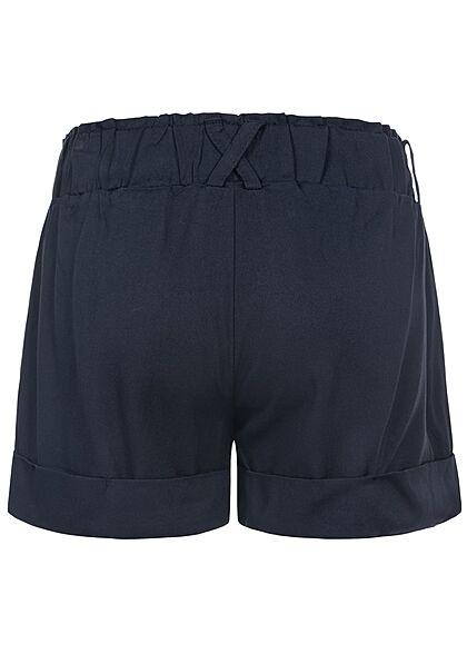 Hailys Kids Mädchen kurze Bermuda Sommer Shorts mit Bindegürtel navy blau