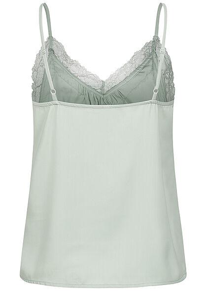 Vero Moda Damen V-Neck Top Spitzendetails jadeite grün