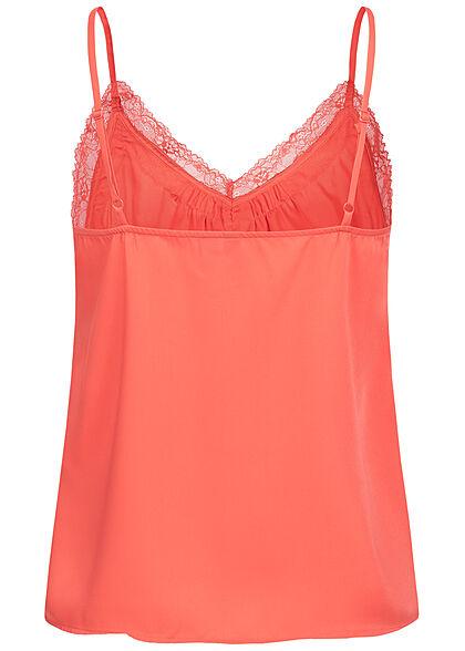 Vero Moda Damen V-Neck Top Spitzendetails spiced coral orange