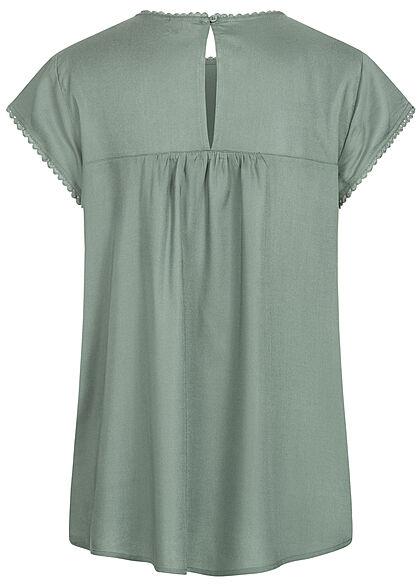 Vero Moda Damen NOOS Blusen Shirt Nietendetails laurel wreath grün