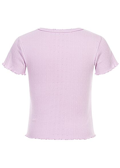 Hailys Kids Mädchen Struktur T-Shirt Wellendetails am Saum Schulterbetonung lavender lila