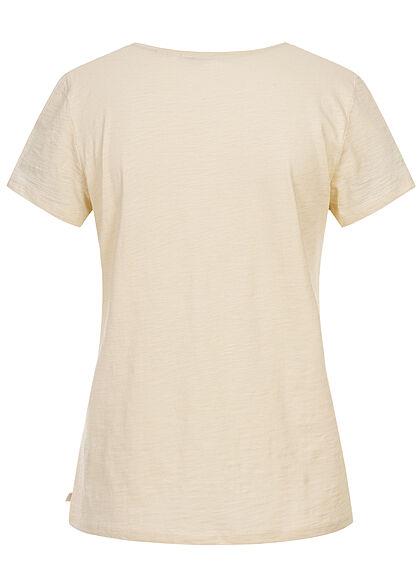 Tom Tailor Damen V-Neck T-Shirt Slow Down Print soft creme beige