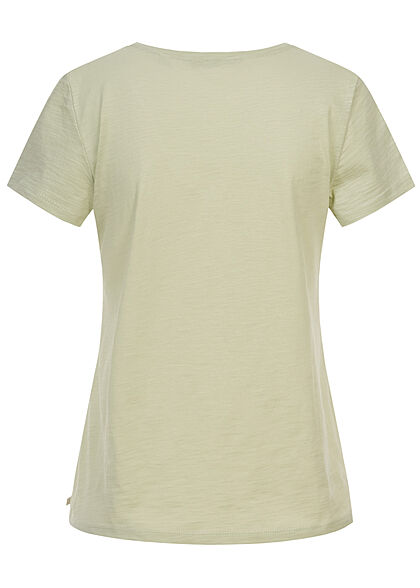Tom Tailor Damen V-Neck T-Shirt Monkey Patch dusty hell grün