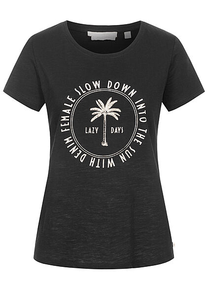 Tom Tailor Damen T-Shirt mit Frontprint tief schwarz - Art.-Nr.: 21052091