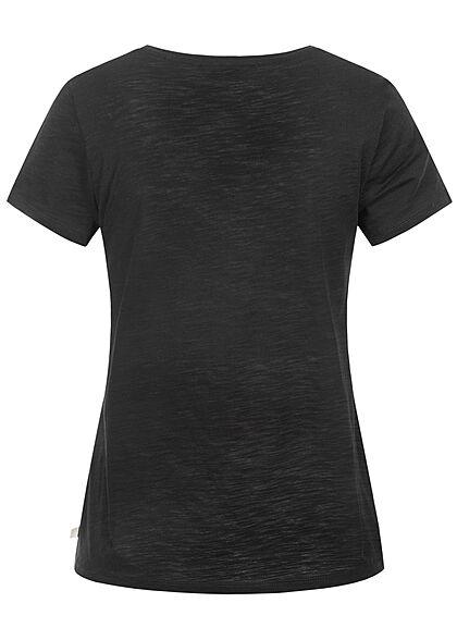 Tom Tailor Damen T-Shirt mit Frontprint tief schwarz