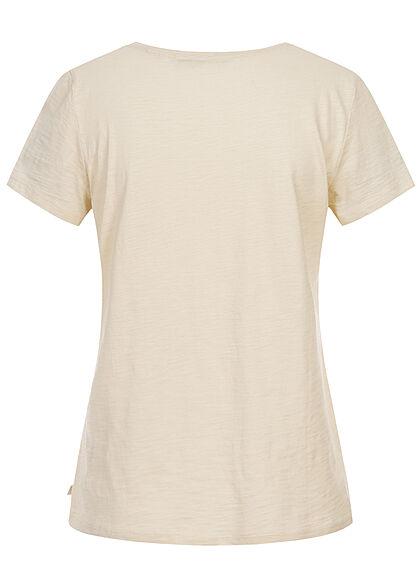 Tom Tailor Damen T-Shirt mit Frontprint soft creme beige