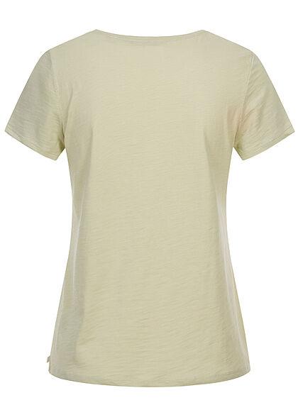 Tom Tailor Damen T-Shirt mit Frontprint dusty hell grün