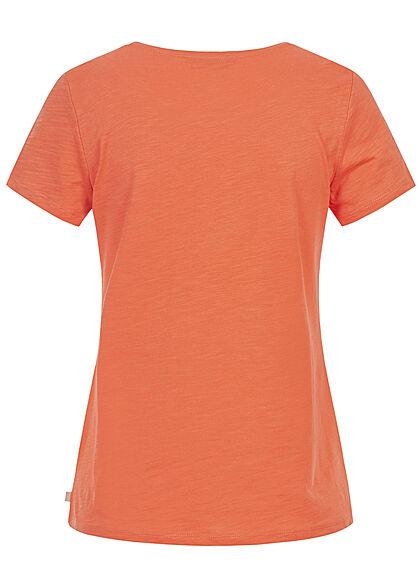 Tom Tailor Damen T-Shirt mit Frontprint sundown orange