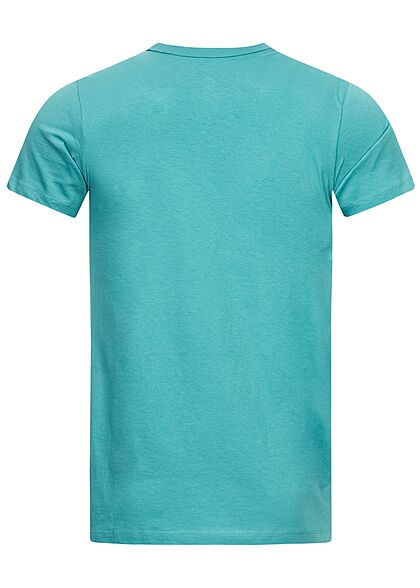Tom Tailor Herren T-Shirt mit Frontprint curacao blau