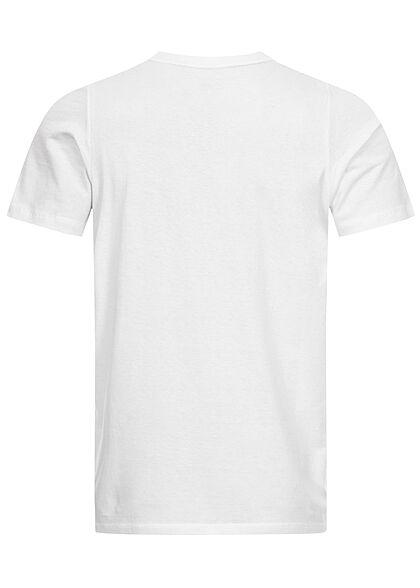 Tom Tailor Herren T-Shirt mit Logoprint off weiss blau