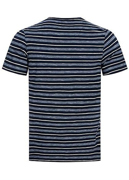 Tom Tailor Herren T-Shirt mit Streifen Muster blau weiss