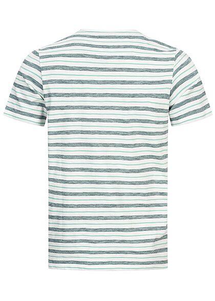 Tom Tailor Herren T-Shirt mit Streifen Muster lucite grün