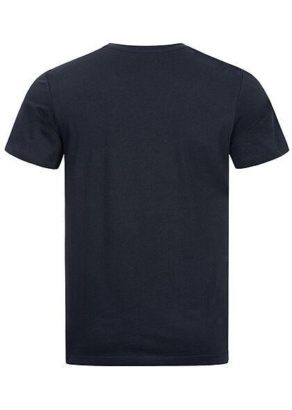 Tom Tailor Herren T-Shirt mit Frontprint dunkel blau weiss