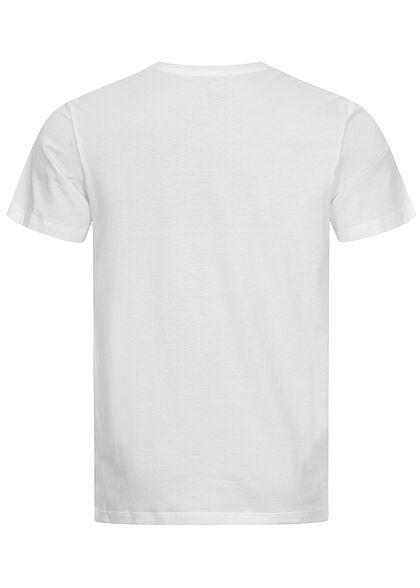 Tom Tailor Herren T-Shirt mit Frontprint off weiss grün