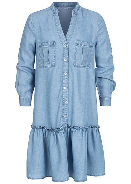 Hailys Kids Mädchen V-Neck Turn-Up Kleid 2 Brusttaschen Knopfleiste hell blau denim