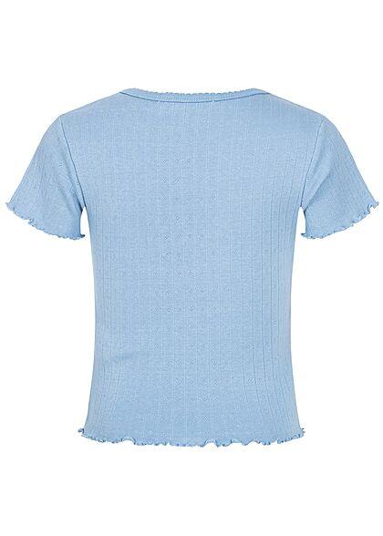 Hailys Kids Mädchen Struktur T-Shirt Wellendetails am Saum Schulterbetonung blau
