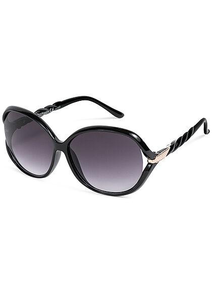 Seventyseven Lifestyle Damen Sonnenbrille UV-Schutz 400 Flechtbügel schwarz