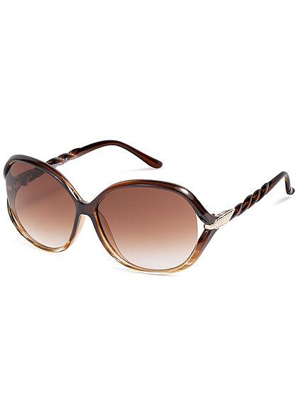 Seventyseven Lifestyle Damen Sonnenbrille UV-Schutz 400 Flechtbügel braun