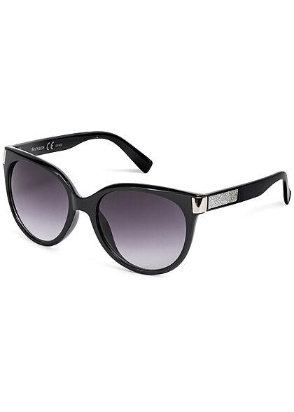 Seventyseven Lifestyle Damen Sonnenbrille UV-Schutz 400 Glitzer seitl. schwarz silber