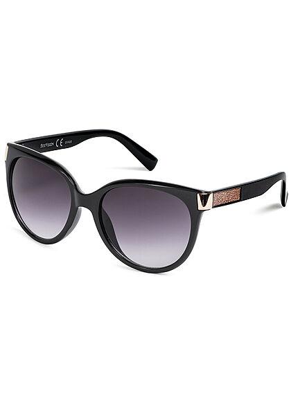 Seventyseven Lifestyle Damen Sonnenbrille UV-Schutz 400 Glitzer seitl. schwarz rosa