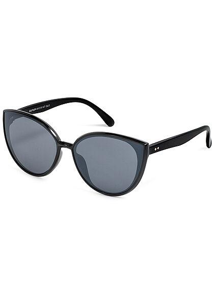 Seventyseven Lifestyle Damen Sonnenbrille UV-Schutz 400 Cat Eye Look schwarz navy