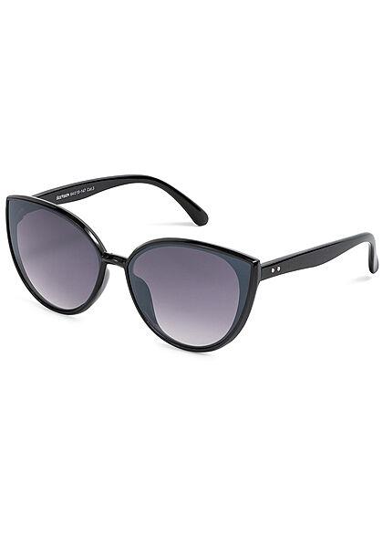Seventyseven Lifestyle Damen Sonnenbrille UV-Schutz 400 Cat Eye Look unicolor schwarz