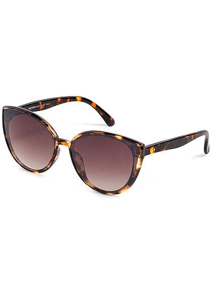 Seventyseven Lifestyle Damen Sonnenbrille UV-Schutz 400 Cat Eye Look camo braun