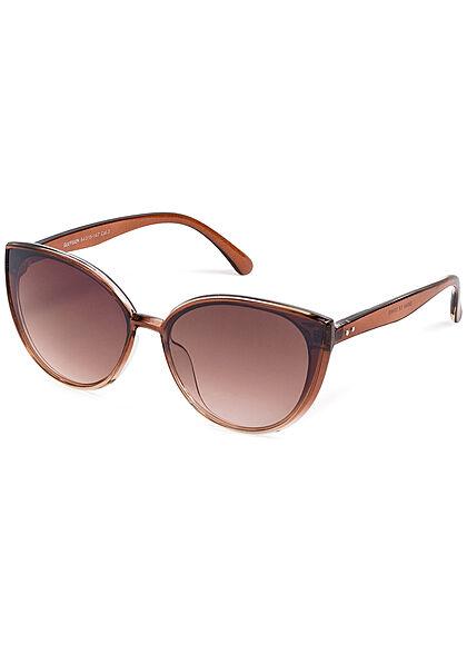 Seventyseven Lifestyle Damen Sonnenbrille UV-Schutz 400 Cat Eye Look braun