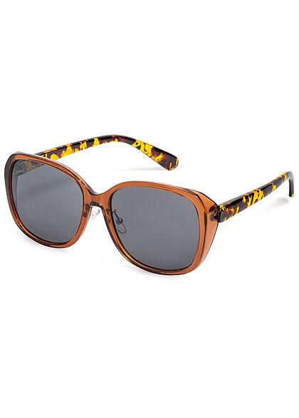 Seventyseven Lifestyle Damen Sonnenbrille UV-Schutz 400 Eckiges Design camo braun