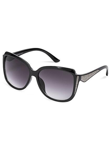 Seventyseven Lifestyle Damen Sonnenbrille UV-Schutz 400 Glitzer Paneel schwarz silber
