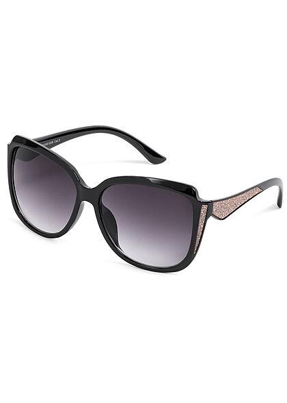 Seventyseven Lifestyle Damen Sonnenbrille UV-Schutz 400 Glitzer Paneel schwarz rosa