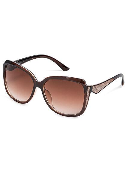 Seventyseven Lifestyle Damen Sonnenbrille UV-Schutz 400 Glitzer Paneel dunkel braun
