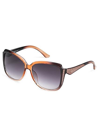 Seventyseven Lifestyle Damen Sonnenbrille UV-Schutz 400 Glitzer Paneel hell braun