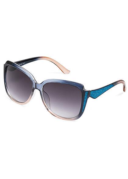 Seventyseven Lifestyle Damen Sonnenbrille UV-Schutz 400 Glitzer Paneel blau beige