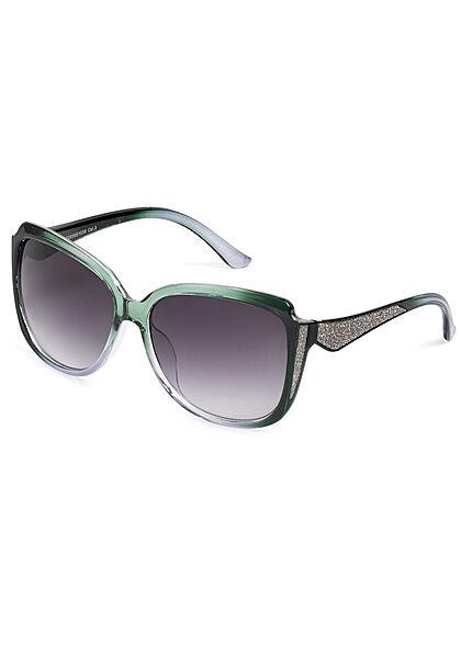 Seventyseven Lifestyle Damen Sonnenbrille UV-Schutz 400 Glitzer Paneel grün silber