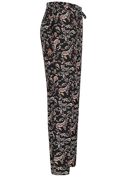 Vero Moda Damen NOOS Viskose Sommer Hose Paisley Print 2-Pockets schwarz braun